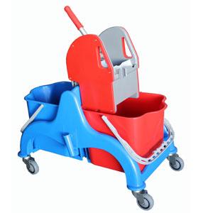 chariot de lavage 2x22 lt avec presse faubert materiel polypropylene et aluminium anodiz c. Black Bedroom Furniture Sets. Home Design Ideas